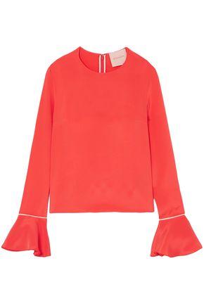 ROKSANDA Saba satin-trimmed silk-crepe blouse