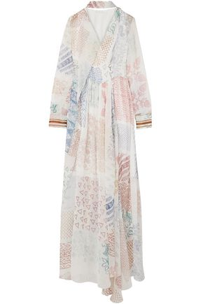 CHLOÉ فستان سهرة من الشيفون الحريري المطبع برسومات