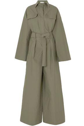 BRUNELLO CUCINELLI جمب سوت من مزيج القطن المجعد مزين بالخرز ومزوّد بحزام