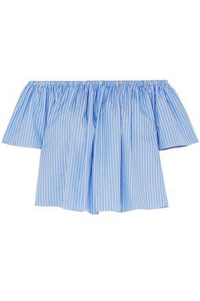 STELLA McCARTNEY Off-the-shoulder striped cotton-poplin blouse