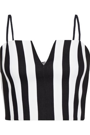 ALICE + OLIVIA Bertie cropped striped linen-blend top