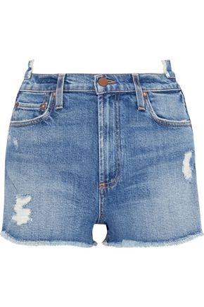 ALICE + OLIVIA Distressed denim shorts