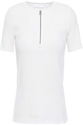 HELMUT LANG Zip-detailed ribbed-knit top