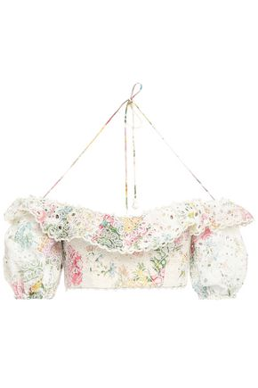 ZIMMERMANN Thea off-the-shoulder cropped floral-print broderie anglaise cotton top