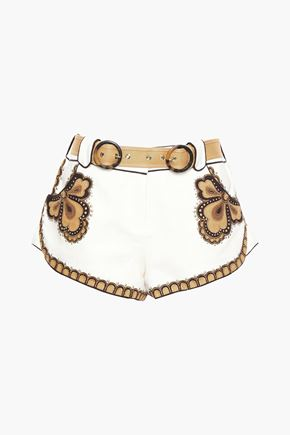 ZIMMERMANN Embellished linen-canvas shorts