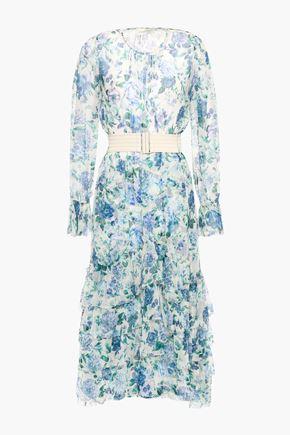 ZIMMERMANN Belted tiered floral-print silk-crepon midi dress