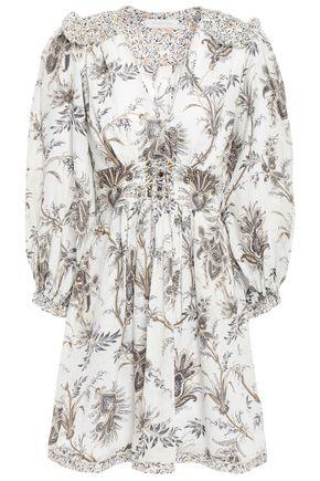 ZIMMERMANN Lace-up ruffled floral-print linen-canvas mini dress