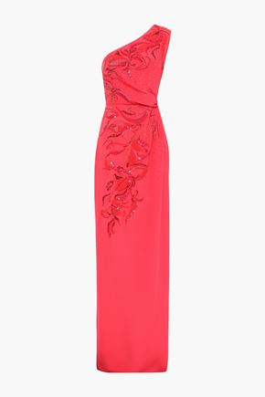 EMILIO PUCCI One-shoulder embellished silk-crepe gown