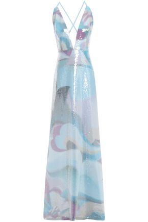 エミリオ プッチ スパンコール付き プリントシルククレープデシン ロングドレス