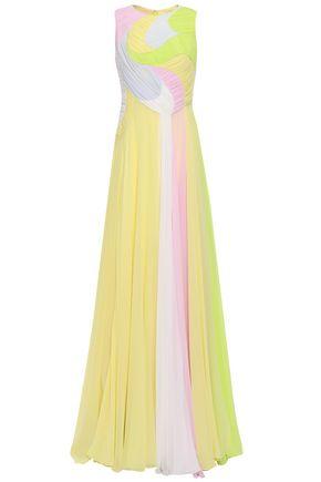 EMILIO PUCCI Draped gathered color-block silk crepe de chine gown