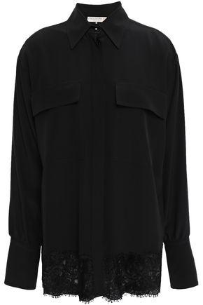 EMILIO PUCCI Lace-trimmed silk crepe de chine shirt