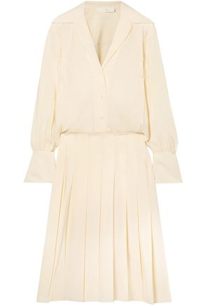 CHLOÉ Layered pleated silk crepe de chine dress