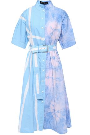 PROENZA SCHOULER Belted flared tie-dyed cotton-poplin midi dress