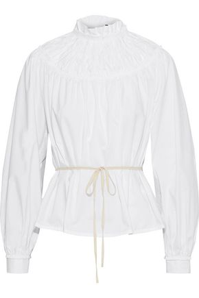 PROENZA SCHOULER Ruffle-trimmed shirred cotton-poplin blouse