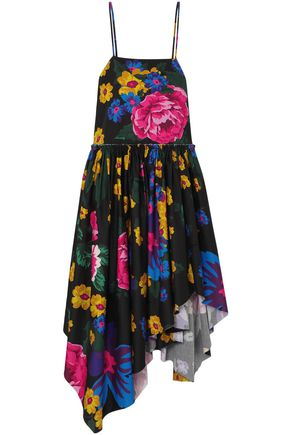 MARQUES' ALMEIDA Asymmetric gathered floral-print cotton midi dress