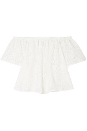 STELLA McCARTNEY Off-the-shoulder corded cotton-blend lace top