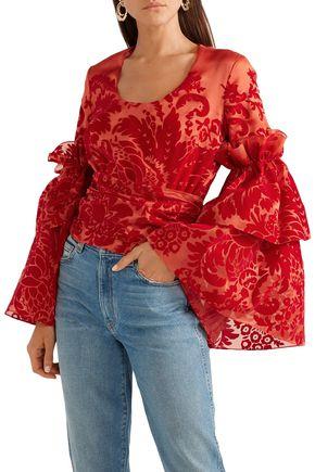 ROSIE ASSOULIN Tie-front devoré silk-organza top