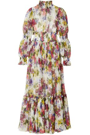 DOLCE & GABBANA Shirred floral-print silk-chiffon maxi dress