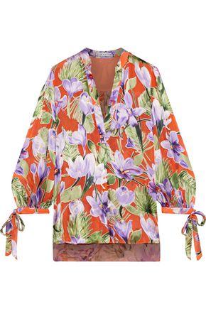 ALICE + OLIVIA Sheila floral-print burnout satin blouse