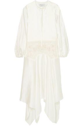 MARQUES' ALMEIDA Asymmetric embroidered tulle-paneled silk-charmeuse maxi dress