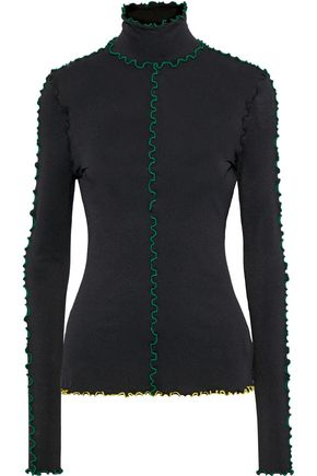 PROENZA SCHOULER Ruffle-trimmed stretch-crepe turtleneck top