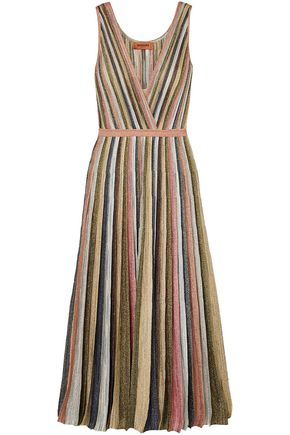 MISSONI Wrap-effect pleated metallic striped maxi dress