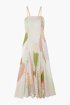 MISSONI Flared intarsia-knit maxi dress