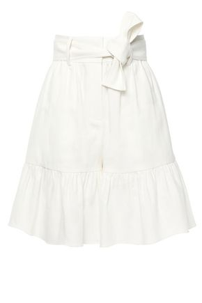 GOEN.J Belted ruffle-trimmed linen and cotton-blend shorts