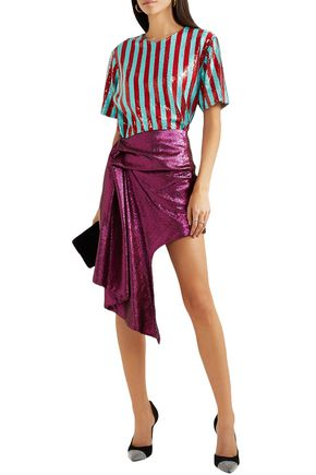Halpern Striped Sequined Tulle T-shirt In Turquoise