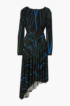 PREEN by THORNTON BREGAZZI Melissa asymmetric ruched striped stretch-jersey midi dress