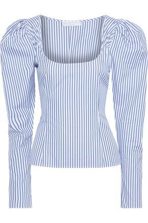 CAROLINE CONSTAS Ariana gathered striped cotton-broadcloth top