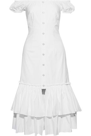 CAROLINE CONSTAS Lyla off-the-shoulder tiered cotton-blend poplin midi dress