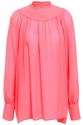 VALENTINO Bow-detailed gathered silk-crepe blouse