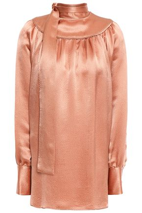 VALENTINO Tie-neck gathered hammered-satin blouse