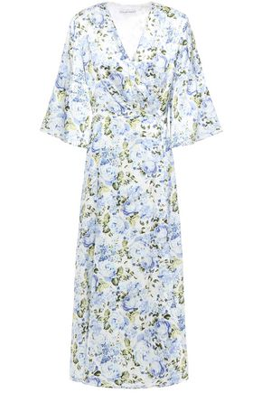 LES RÊVERIES فستان متوسط الطول من الساتان الحريري المطبع بالورود مع طيات