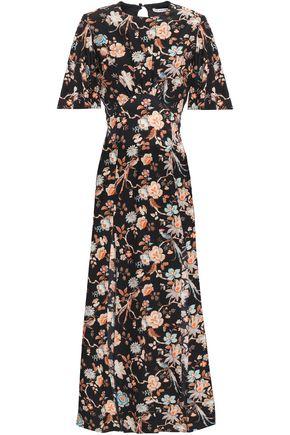 LES RÊVERIES فستان متوسط الطول من قماش كريب دي شين الحريري المطبع بالورود مع أجزاء مقصوصة