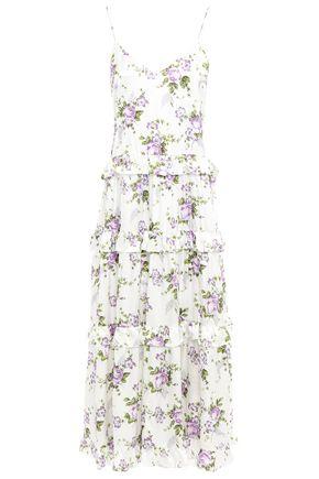 LES RÊVERIES فستان متوسط الطول بطبقات من الساتان الحريري المطبع بالورود مزين بالكشكش