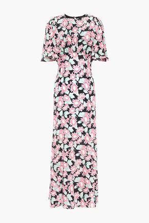 LES RÊVERIES فستان طويل بتصميم ملموم من الحرير الباهت مطبع بالورود مع أجزاء مقصوصة