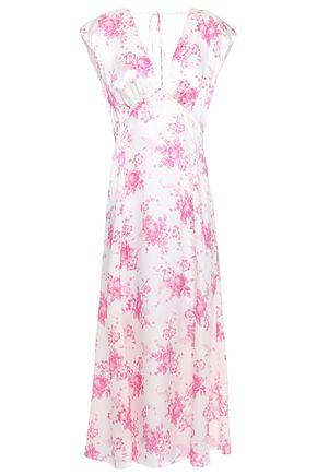 LES RÊVERIES فستان متوسط الطول بتصميم ملموم من الساتان الحريري المطبع بالورود
