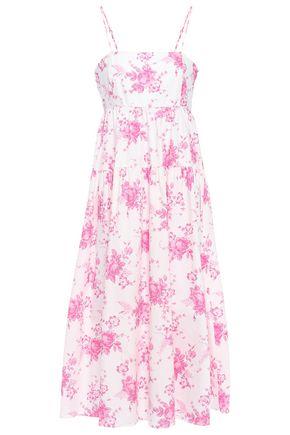 LES RÊVERIES فستان متوسط الطول بتصميم ملموم من قماش البوبلين القطني المطبع بالورود