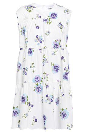 LES RÊVERIES فستان قصير بتصميم ملموم من قماش البوبلين القطني المطبع بالورود