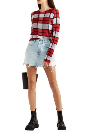Alexander Wang Distressed Denim Mini Skirt In Light Denim