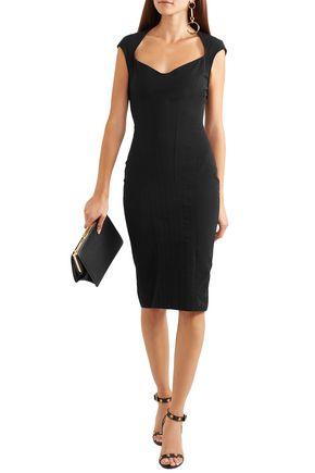 Mugler Dresses MUGLER WOMAN PANELED STRETCH-TWILL DRESS BLACK