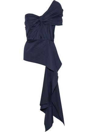 JOHANNA ORTIZ The Art Of Dancing one-shoulder twist-front cotton-blend poplin top