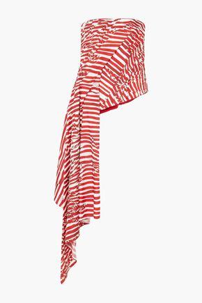 HALPERN Strapless draped striped faille top