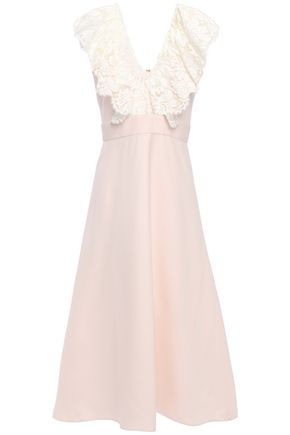 VALENTINO Lace-trimmed wool and silk-blend midi dress