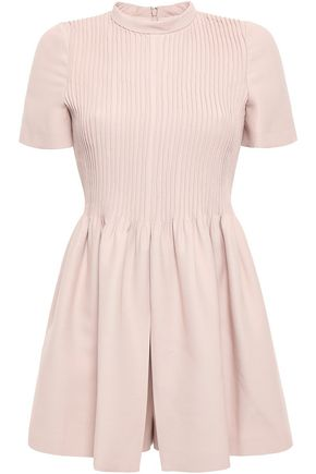 VALENTINO Pleated pintucked wool and silk-blend playsuit