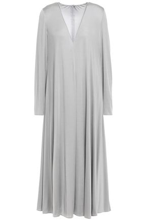 VALENTINO Draped stretch-silk midi dress