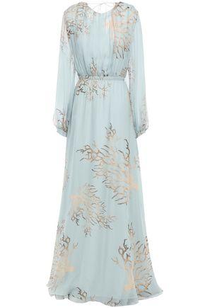 VALENTINO Open-back printed silk-chiffon gown