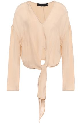 SALLY LAPOINTE Knotted woven blouse